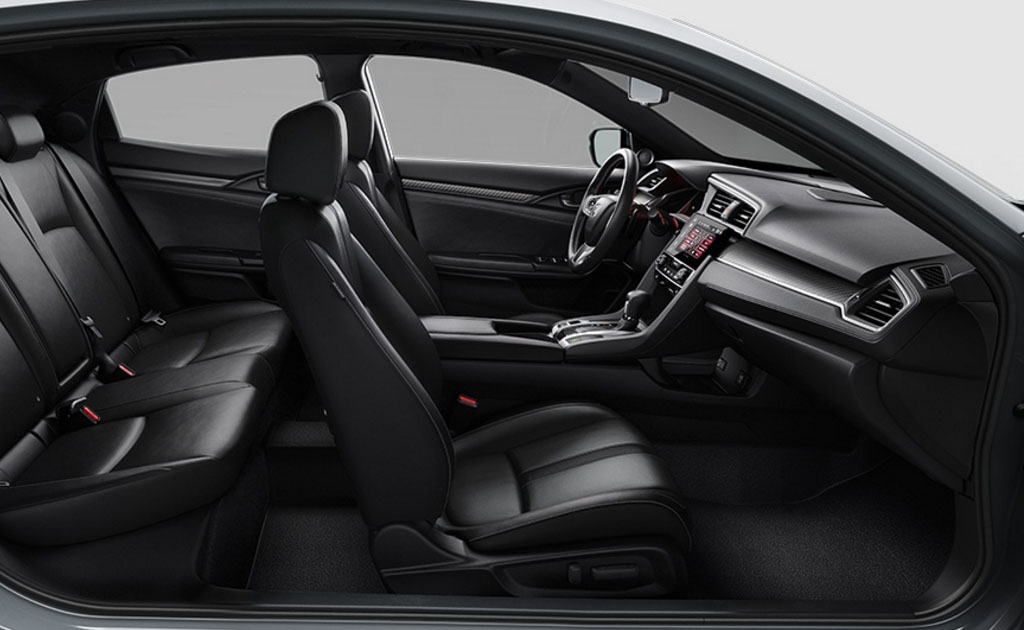 Prepare For Takeoff: The Sporty Civic Hatchback Interior Offers Two Color  Treatments U2014 Black And Black/ivory Two Tone U2014 Across Different Trim Levels.